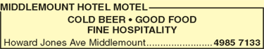 Middlemount Hotel Motel Accommodation