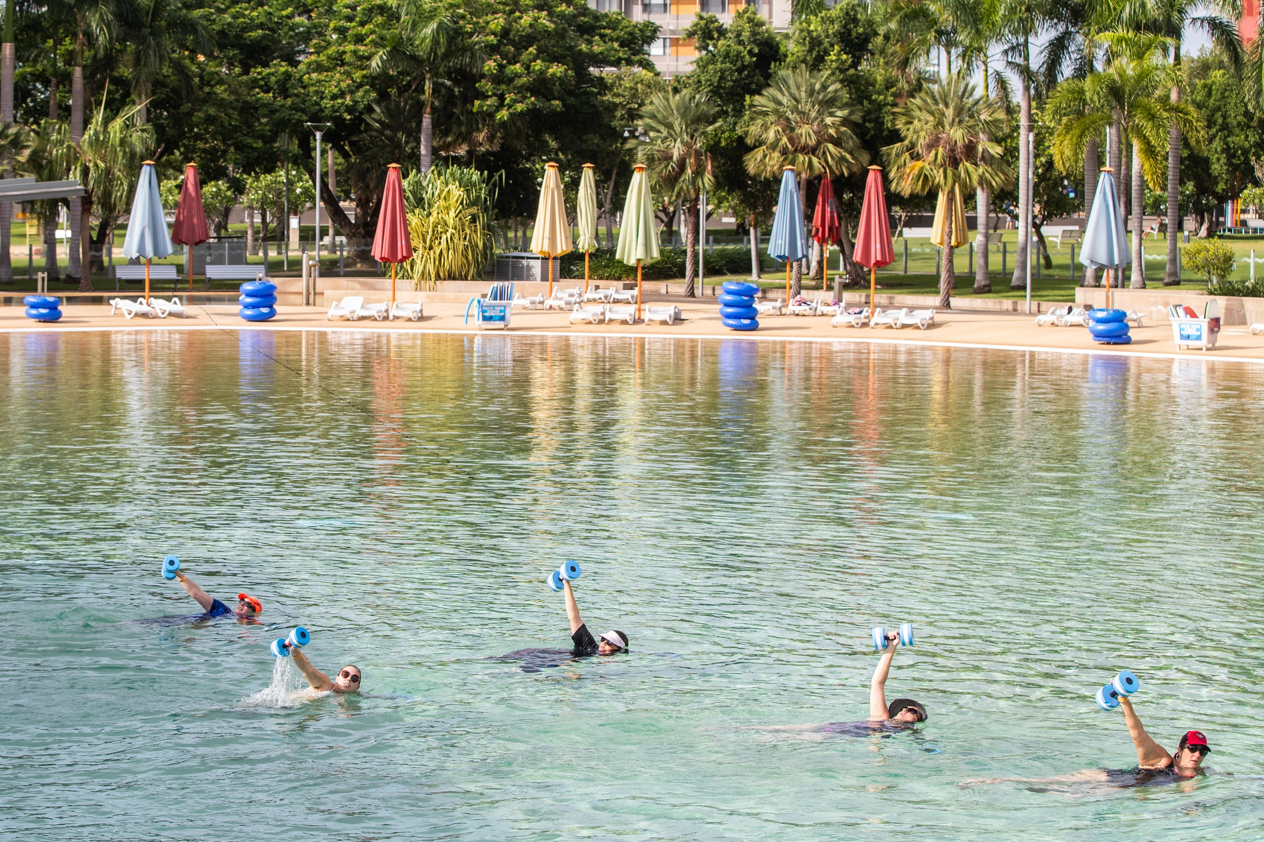 Aqua fitness in the Wave Lagoon - Accommodation in Brisbane